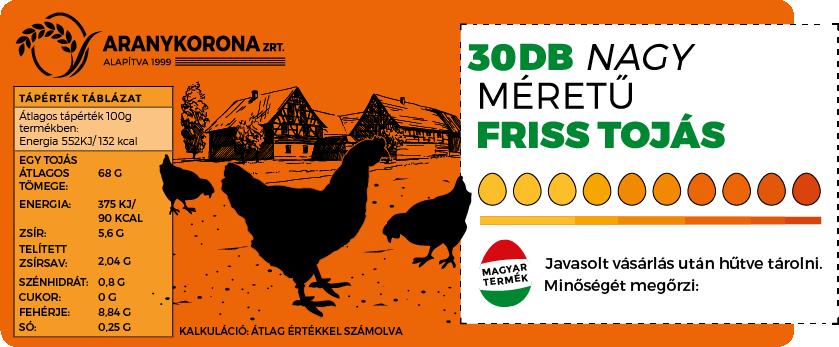30 db friss tojás L méret (63g-73g/tojás)